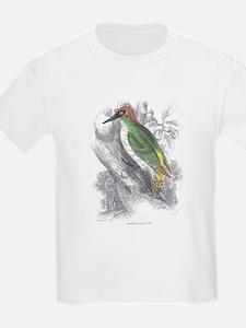 Green Woodpecker Bird (Front) Kids T-Shirt