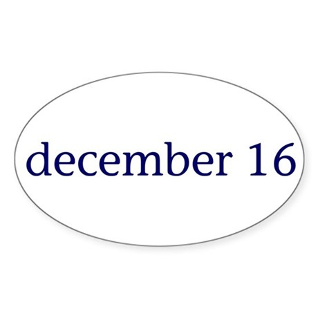 December 16 Sticker (Oval)