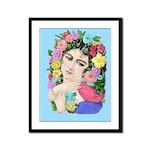 Framed Nostalgic Botanical Floral Woman Print