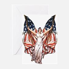 Vintage American Flag Art Greeting Cards (Package
