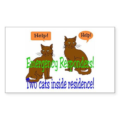 Two Cat Alert Rectangle Sticker
