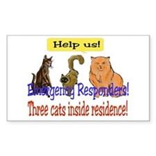Three Cat Alert Rectangle Decal