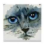Tealy Cat Tile Coaster