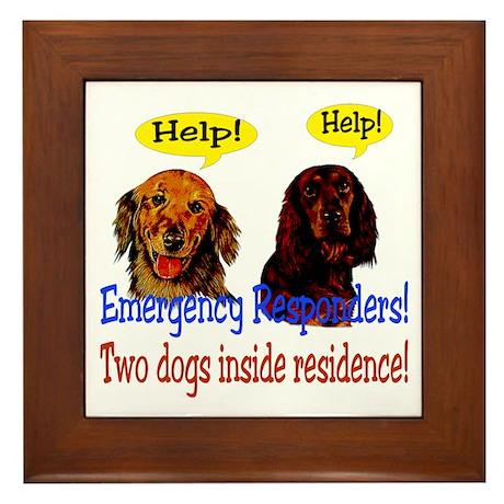 Two Dog Alert Framed Tile