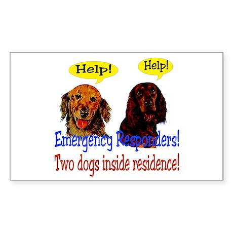 Two Dog Alert Rectangle Sticker