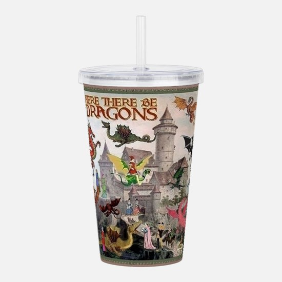 There Be Dragons Acrylic Double-Wall Tumbler