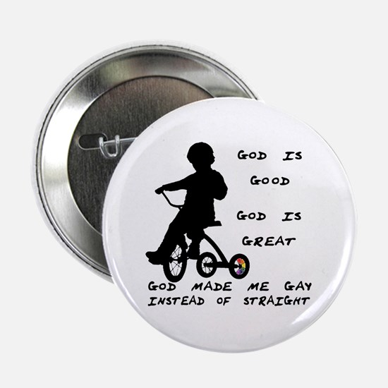 God Made Me Gay (Tricycle) Button