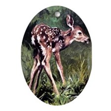 White-tailed fawn Oval Ornament