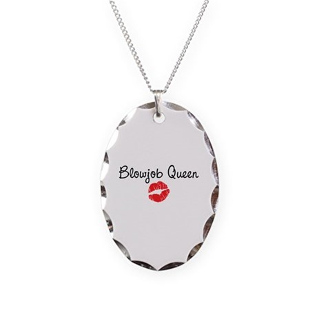 Blowjob Queen Necklace Oval Charm