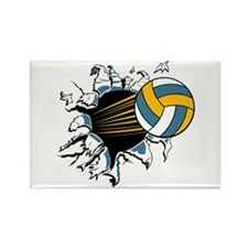 Volleyball Burst Rectangle Magnet