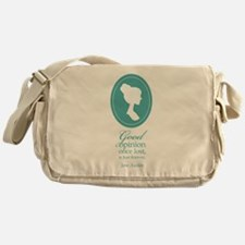Austen Good Opinion Quote Messenger Bag