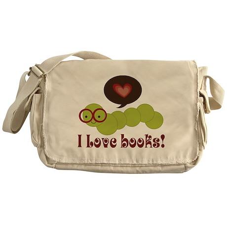 I Love Books Bookworm Messenger Bag