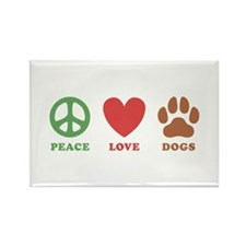Peace Love Dogs 2 Rectangle Magnet