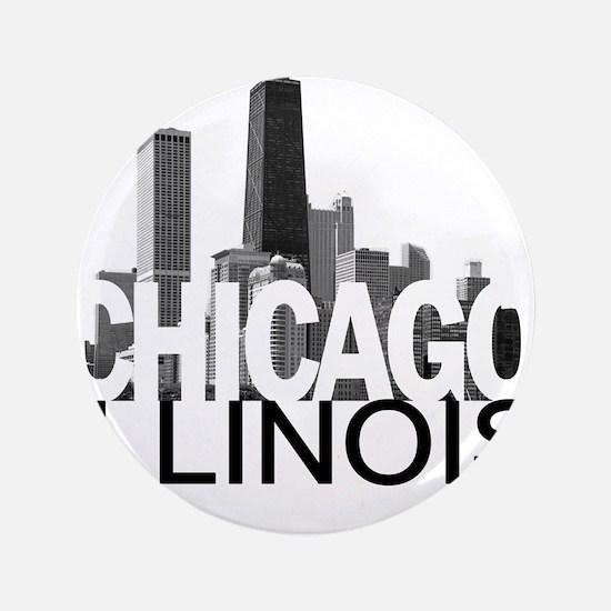 """Chicago Skyline 3.5"""" Button"""