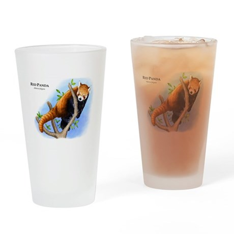 Red Panda Drinking Glass