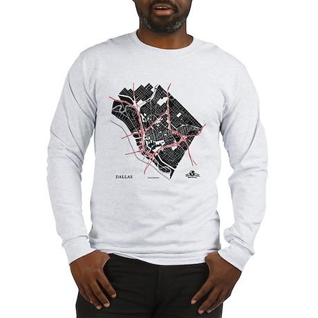 Dallas Men's Long Sleeve Shirt Black on Grey