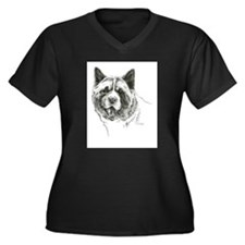 Akita Head Women's Plus Size V-Neck Dark T-Shirt