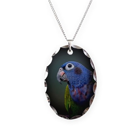 Pionus Parrot Necklace Oval Charm