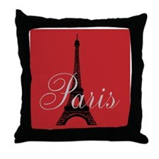 I Love Paris (red) Throw Pillow