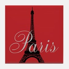 I Love Paris (red) Tile Coaster