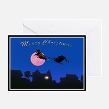 Rottie & Sleigh at Night Greeting Cards (Pk of