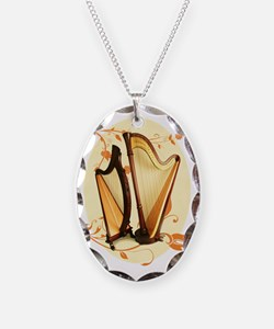 Harp Love Necklace Oval Charm