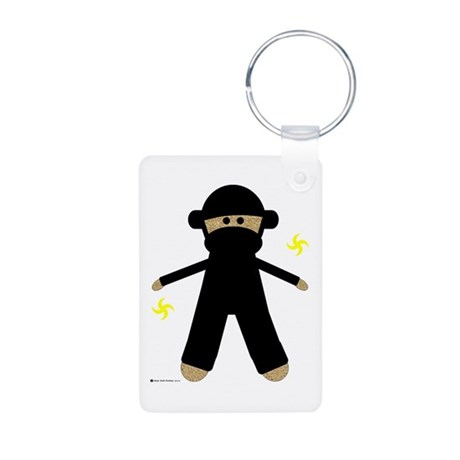 Ninja Sock Monkey Aluminum Photo Keychain