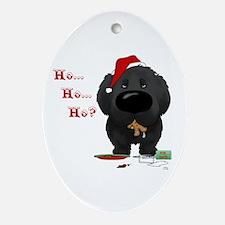 Newfie Santa's Cookies Ornament (Oval)