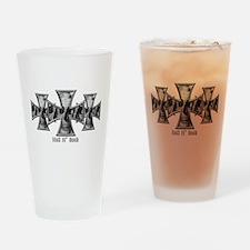 Hell N' Back Skulls Crosses Drinking Glass