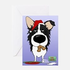 Border Collie Santa's Cookies Greeting Card