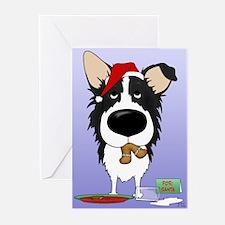 Border Collie Santa Greeting Cards (Pk of 10)