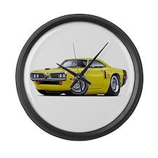 1970 Coronet Yellow-Black Car Large Wall Clock