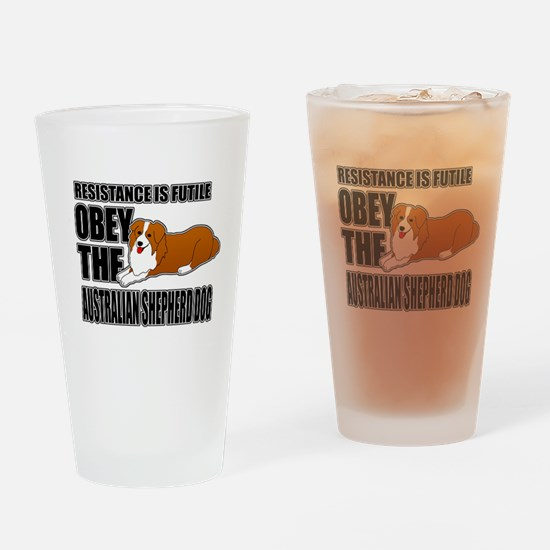 Australian Shepherd Dog Drinking Glass