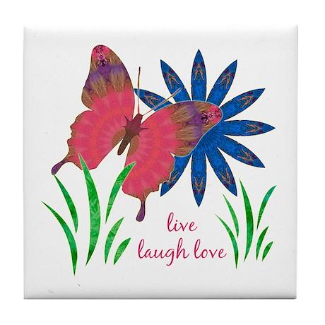 Divine Butterfly w flower Tile Coaster
