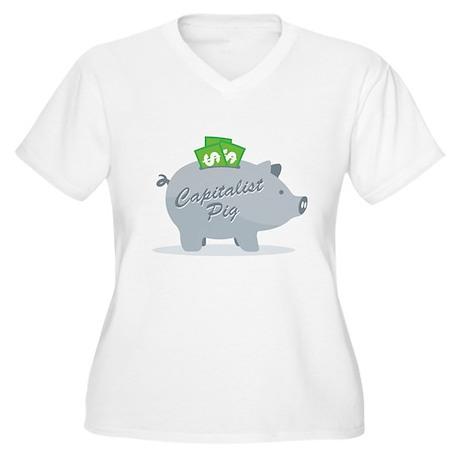 Capitalist Pig Women's Plus Size V-Neck T-Shirt