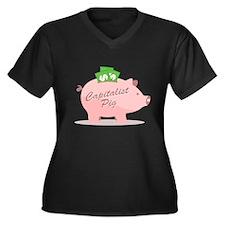 Capitalist Pig Women's Plus Size V-Neck Dark T-Shi