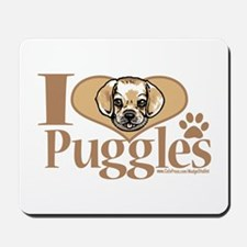 I Love Puggles Mousepad