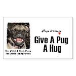 HUG A PUG Rectangle Sticker