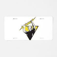 power lineman electrician Aluminum License Plate