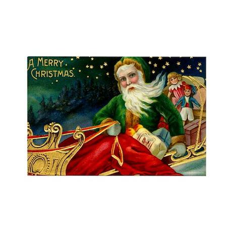 Vintage Santa Christmas Rectangle Magnet (100 pack