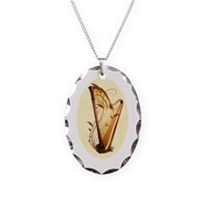Pedal Harp Necklace Oval Charm