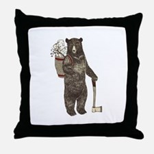 Funny Black bear Throw Pillow