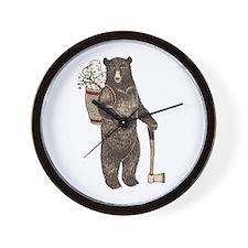Cute Christmas bear Wall Clock