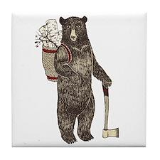 Cute Christmas bear Tile Coaster