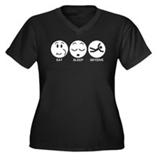 Eat Sleep Skydive Women's Plus Size V-Neck Dark T-