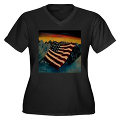 Patriot Mountain Women's Plus Size V-Neck Dark T-S