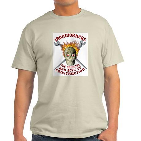 Ironworker Flaming Skull - Ash Grey T-Shirt