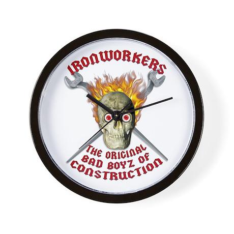 Ironworker Flaming Skull Wall Clock