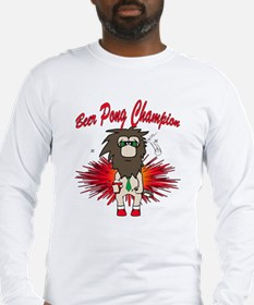 Cave man beer pong Long Sleeve T-Shirt