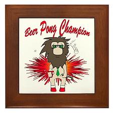 Cave man beer pong Framed Tile